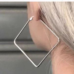 Gold Square Geometric Hoop Earrings